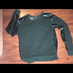 royal green velvet sweatshirt